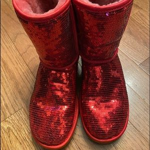 Red sequin Ugg boots size 6